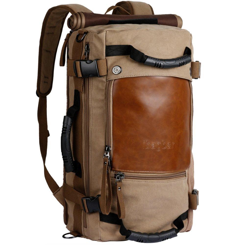 Canvas Backpack Travel Bag Hiking Bag Camping Bag Rucksack from Ibagbar