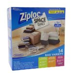 Ziploc Space Bag 14 Bag Variety – 14pc 4-M, 4-L, 3-XL Cubes, 3-Trvl