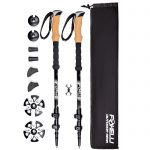 Foxelli Trekking Poles – Collapsible, Lightweight, Shock-Absorbent, Carbon Fiber Hiking, Walking & Running Sticks with Natural Cork Grips, Quick Locks, 4 Season / All Terrain Accessories and Carry Bag