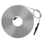 Strong 304 Stainless Steel Metal Garden Hose with Nozzle 50ft
